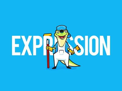 Happy Gecko character colorful painter artist animal gecko flat illustration vector dribbble design branding