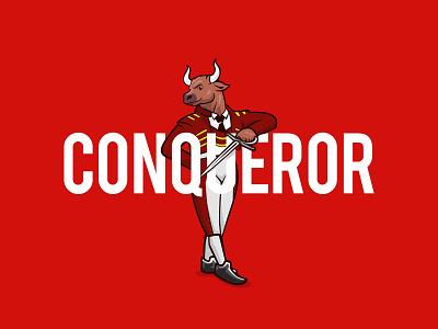 The Bull Matador character design elegant fighter spain matador bull typography flat logo illustration vector design branding
