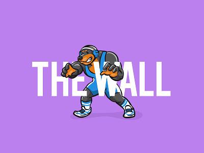 Rottwrestler 'The Wall' awesome minimal animal dribbble mascot character wrestler poster wrestling dog rottweiler typography logo flat vector illustration design branding