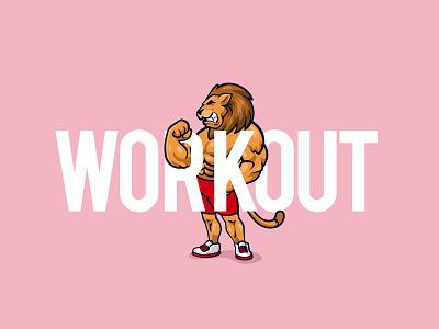 Lion Workout Character fitness workout africa lion design logo flat ui ux typography dribbble illustration vector branding