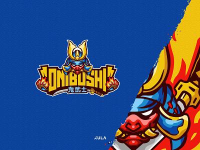 Onibushi Oni character mascot badge design japanese japan oni onibushi typography flat illustration design vector branding