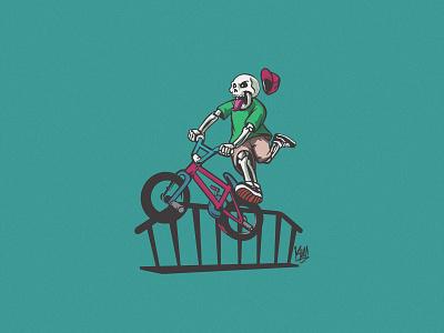 Skull BMX rider character design rider ride extreme bike bicycle bmx skull typography logo dribbble illustration design vector branding