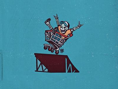 Skull trolley rider character design xtreme skeleton trolley skateboard skate skull icon typography dribbble illustration design vector branding