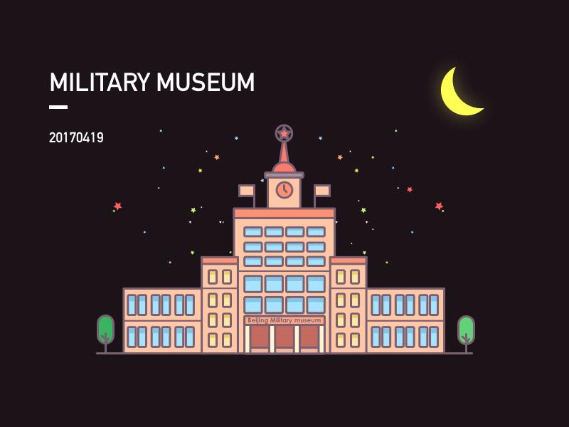 Beijing Military Museum moon night museum military beijing illustration