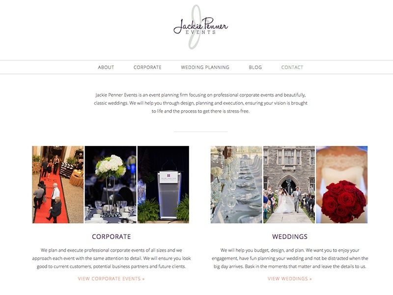 Jackie Penner Events blog wedding clean website