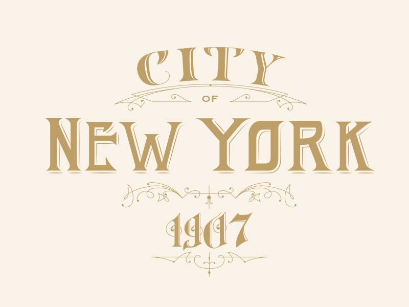 Lettering New York 1907 new york map lettering vintage