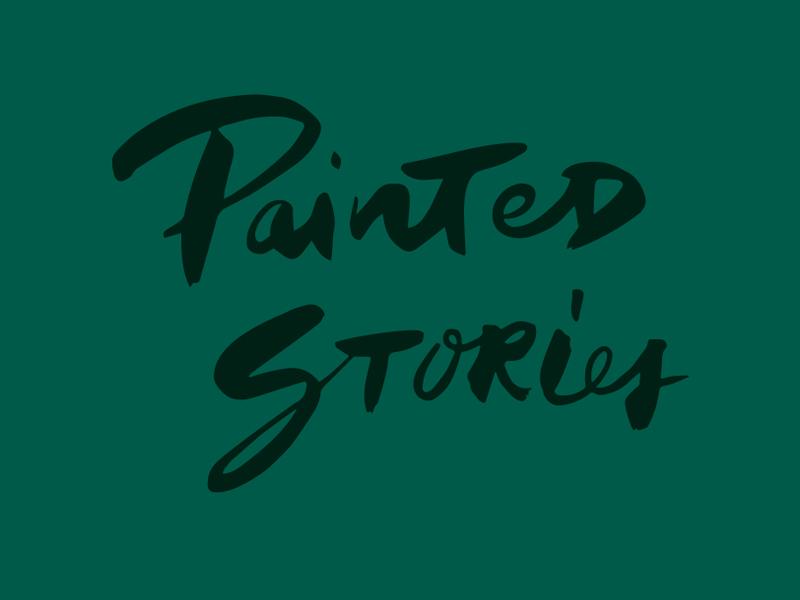 Painted Stories hand lettering brush lettering brush lettering deep green logo branding