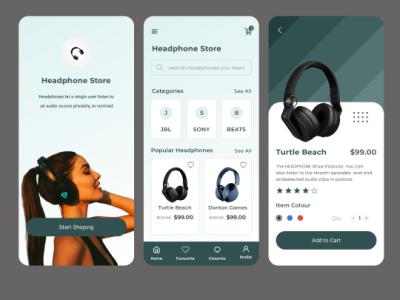 Headphone store app UI ui  ux typography logo design designer app
