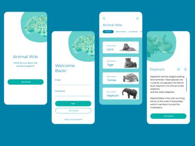 Animal wiki app UI design typography logo ui figma ui  ux designer app
