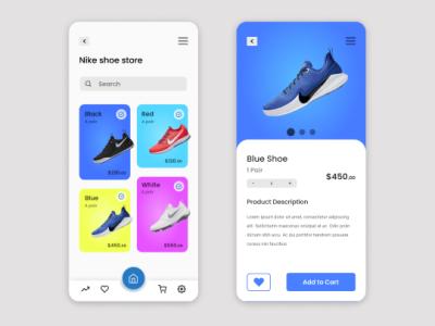 Shoe Ordering app UI design icon typography nike ui  ux figma designer app