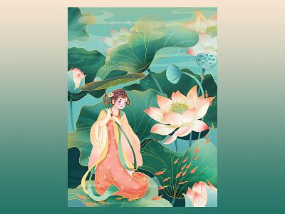 Chinese summer lotus illustration ux ui