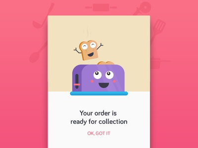 Toastie ready vector clean modal flat design material design android app food menu