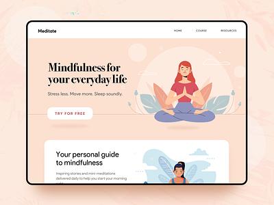 meditate illustration ux ui courses sleep relax meditation web