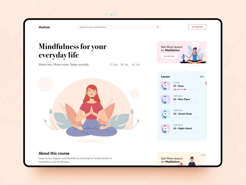 Meditate detail page courses detailpage medidate course design illustration app application orange blue ui