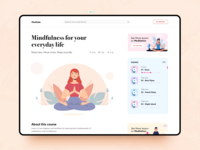 Meditate detail page courses detailpage medidate course design illustration app application orange blue ui