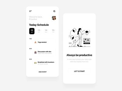 Schedule app uiux uxui ux ui grey black and white minimalism minimalist minimal black relax timing schedule