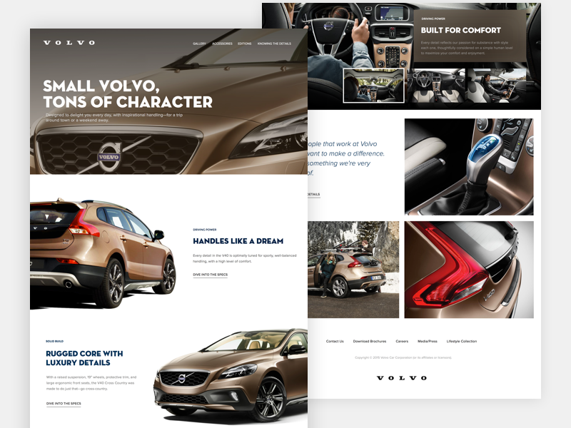 Volvo cars collage image gallery layout responsive webdesign website ux ui cars volvo