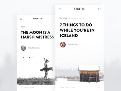 Stories ux ui app reading noval stories white