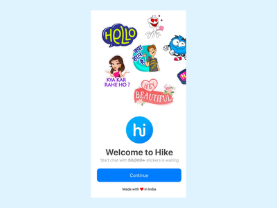 Onboarding design for hike app ui 100 ui ux design interaction design indian app hike app hike chat hike onboarding screen onboarding