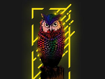 Stoned Owl aggresive vector owl digital art illustration
