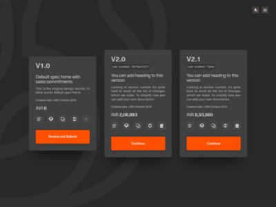 Versioning submit review delete copy details edit compare layout cards versions managing