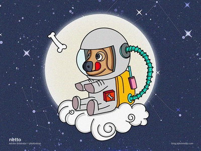 The Doggy Style illustration spacetravel clouds astronaut dog space
