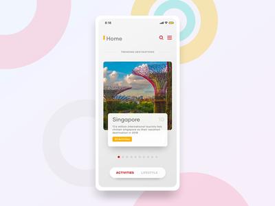 Travel Concept menu landing page android typography ios travel swipe tinder redesign hamburger animation illustration