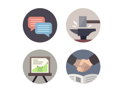 Web Icons web icons illustration craft strategy connect conversation circular flat color website