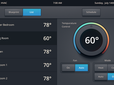 Heating/Air Conditioning UI ui knob temperature list buttons button heat cool room