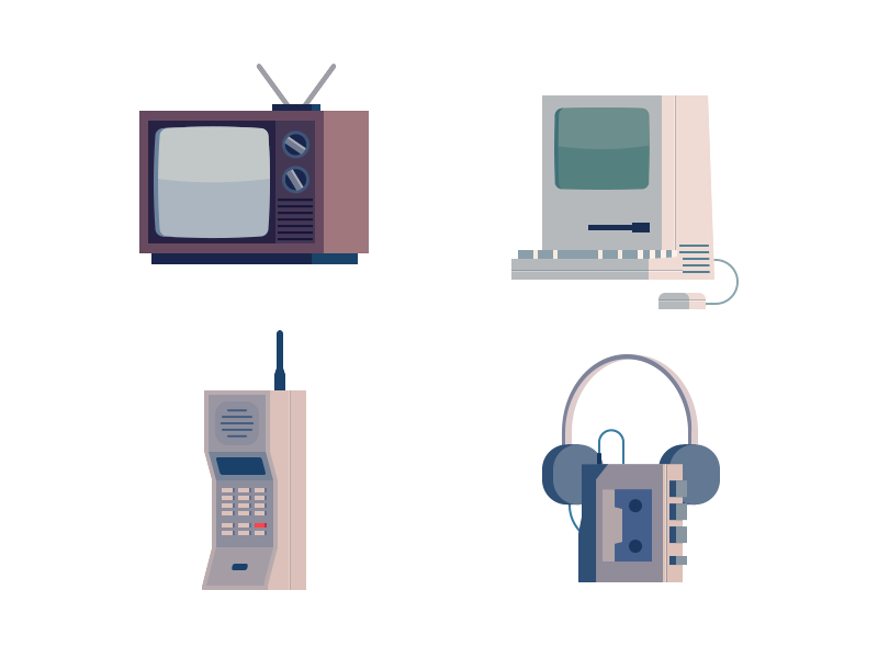 Vintage Technology Icons 80s technology icons phone computer mac cassette tv