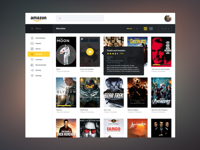 Amazon Streaming Redesign movies streaming ui ux amazon redesign icons buttons menu search