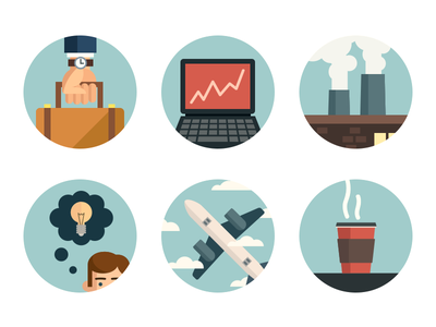 Business Icons business icons laptop briefcase industry coffee flight ideas web illustration ui flat