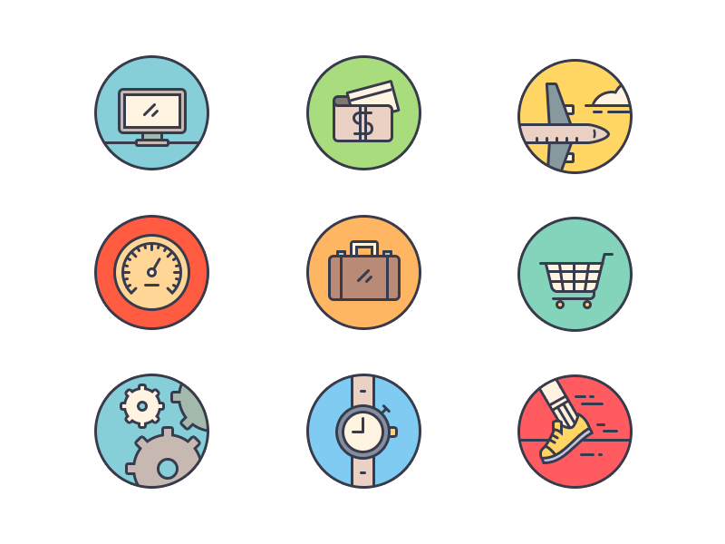 HR Website Icons website web ui icons illustration hr hire travel performance time marketplace expense