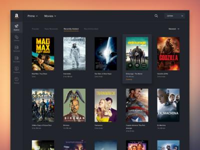 Amazon Video Concept video movies amazon nova proxima dark color icons ux ui