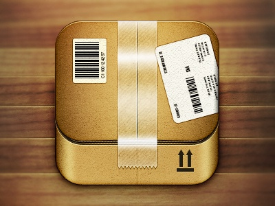 Cardboard Box Icon box ios app icon icons cardboard package iphone illustration texture design