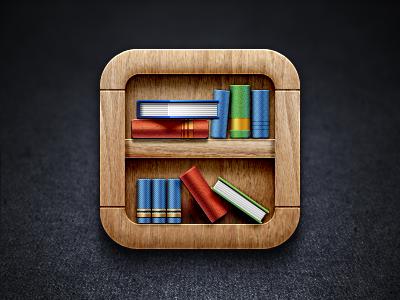 Bookshelf iOS Icon ios wood bookshelf icon icons texture reading book iphone app