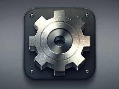 Heavy Duty Settings settings ios icon industrial iphone gear screws texture scratches used heavy machinery machine illustration design geometry gradients metal metallic shiny lighting app