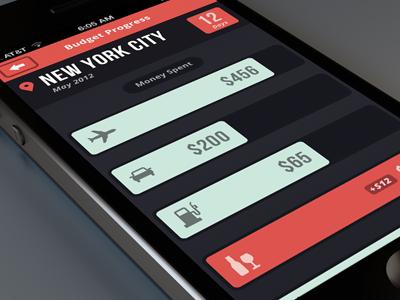 Travel Budget App WIP minimal iphone app design color budget travel progress money icon icons ui ux