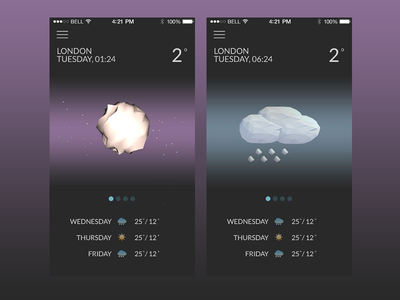 Wthr app Part2 theme dark clean weather application c4d poly low lowpoly ios app iphone