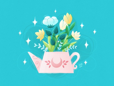 Watering can with flowers botanical abstract floral flower draw artist digital art watering can