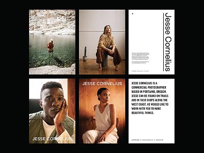 Photographer Jesse Cornelius founders grotesk founders type layout design photography logo editorial mailer photography branding photographer
