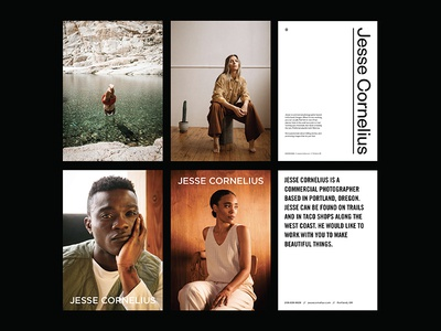 Photographer Jesse Cornelius founders grotesk founders type layout design photography logo editorial mailer photography branding photographer