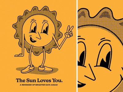 The Sun Loves You character. eyes tone halftone textures texture drawing lettering tshirt covid reminder love black yellow
