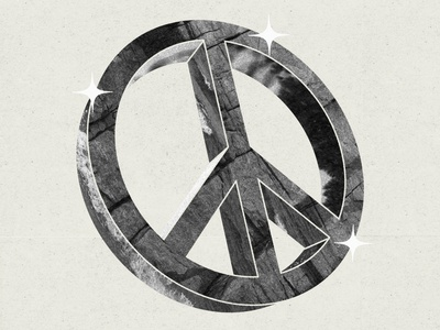 Peace Please texture white black peace sign peace design graphic shine grain illustration