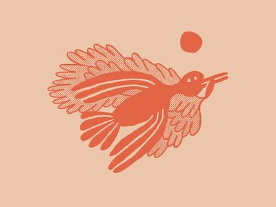 Hi Bird texture truegrit halftone tonal spot bird red procreate illustration