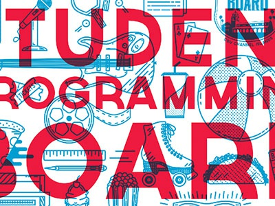 Student Programming Board vector blue photo backdrop lettering icon student college