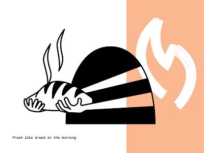 Bread Ben Blancahard oven hands salmon pink black spot web brush bread illustration. spot illustration