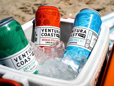 Ventura Coast Ben Blanchard grid black retail cooler lockup la califonria red green blue and red blue color illustration beer art beercan beer