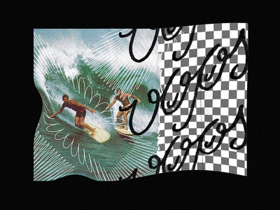 Oops Ben Blanchard wip surf collage collage art lettering vector branding black illustration