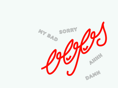 Oops shirt graphic art lockup badge oops damn sorry quock doodle red lettering type